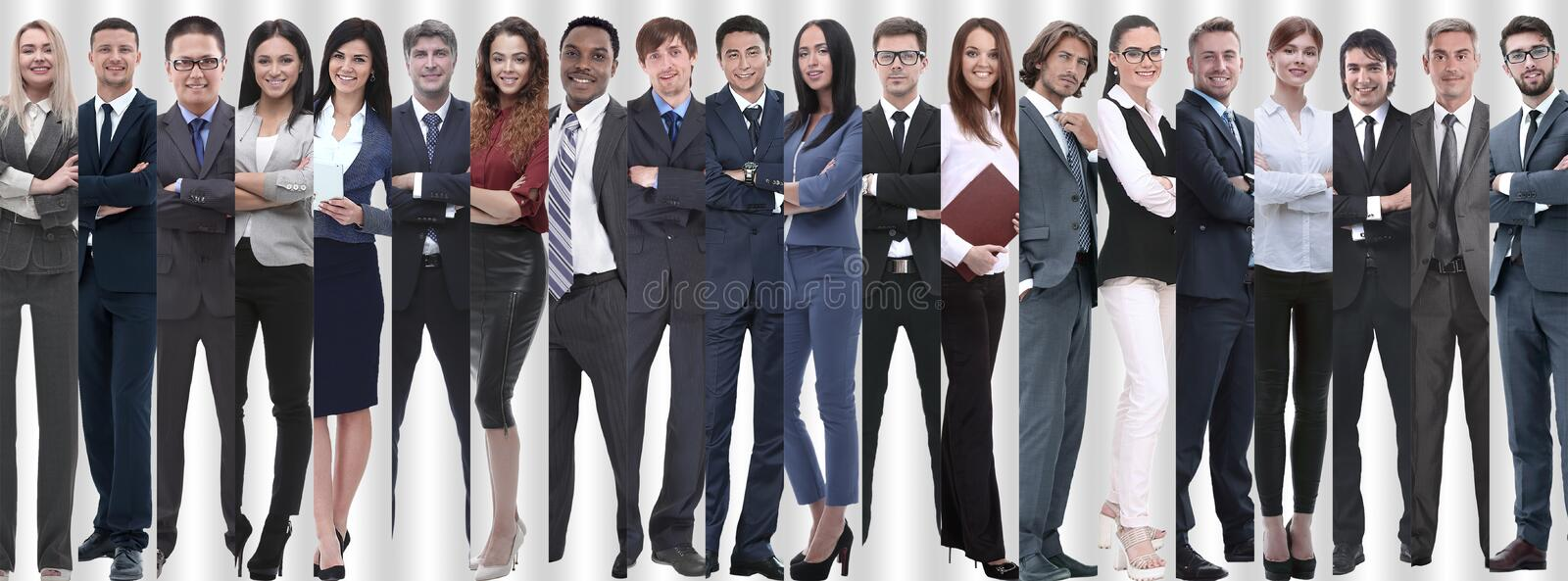 Panoramic collage of groups of successful employees. stock photography