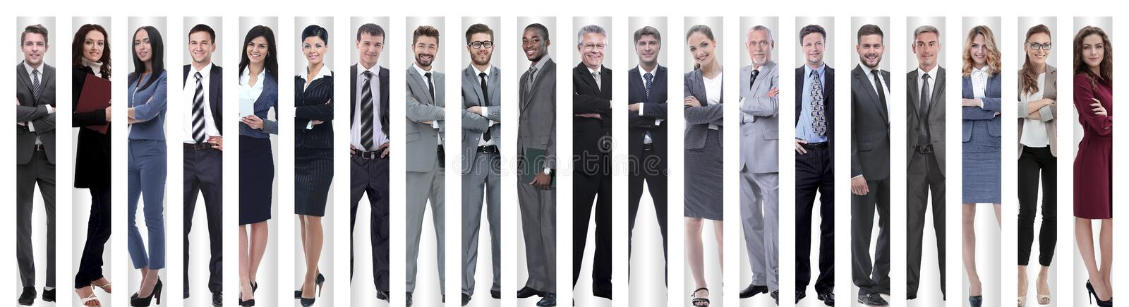 Panoramic collage of groups of successful employees. stock images
