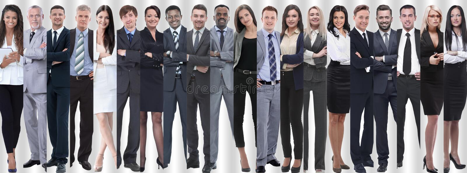 Panoramic collage of groups of successful employees. The concept of teamwork royalty free stock image
