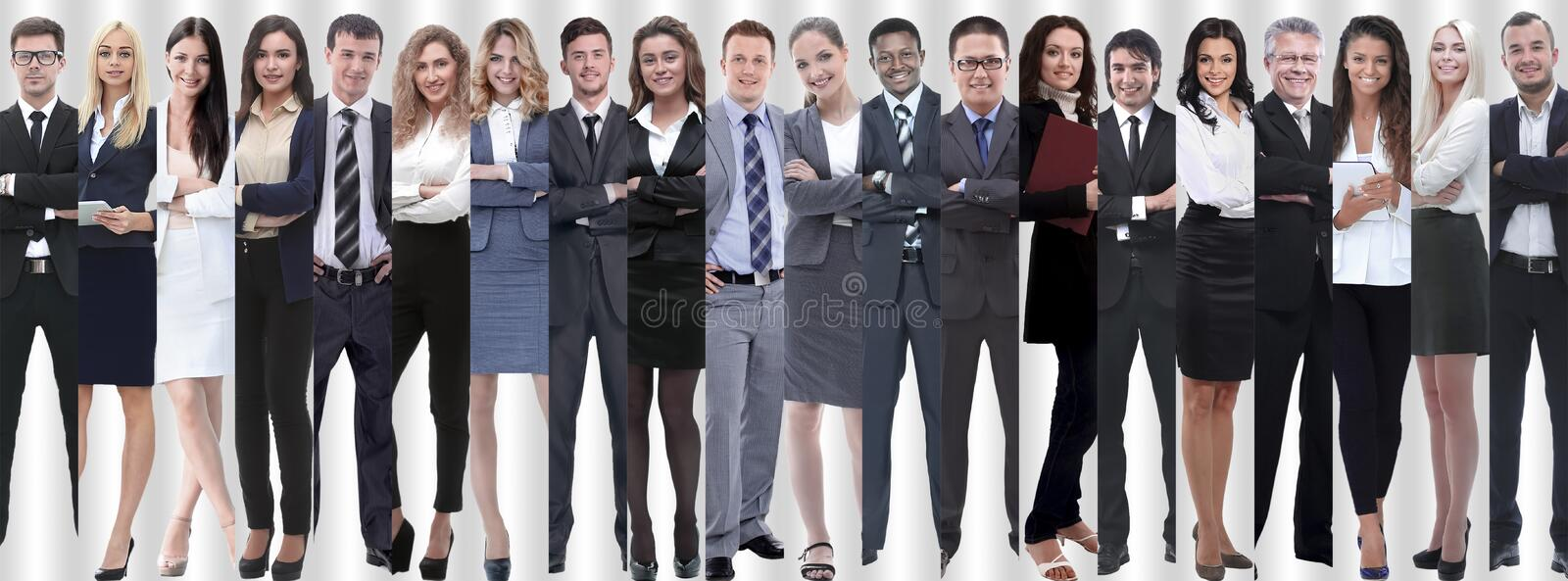Panoramic collage of groups of successful employees. The concept of teamwork stock photos