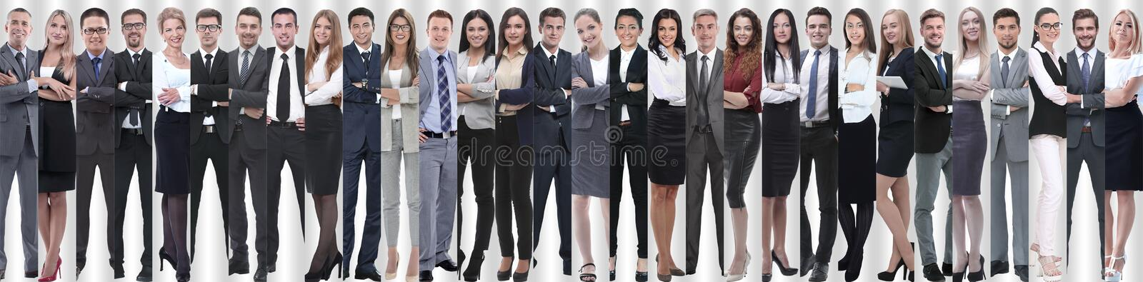 Panoramic collage of groups of successful employees. stock photo
