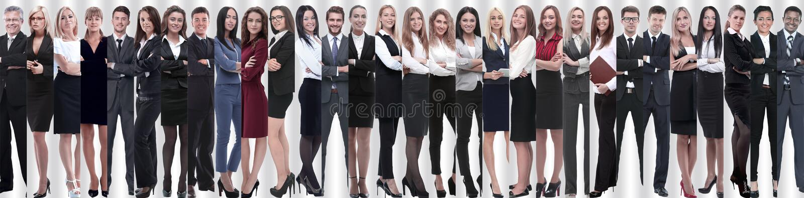 Panoramic collage of groups of successful employees. stock photos