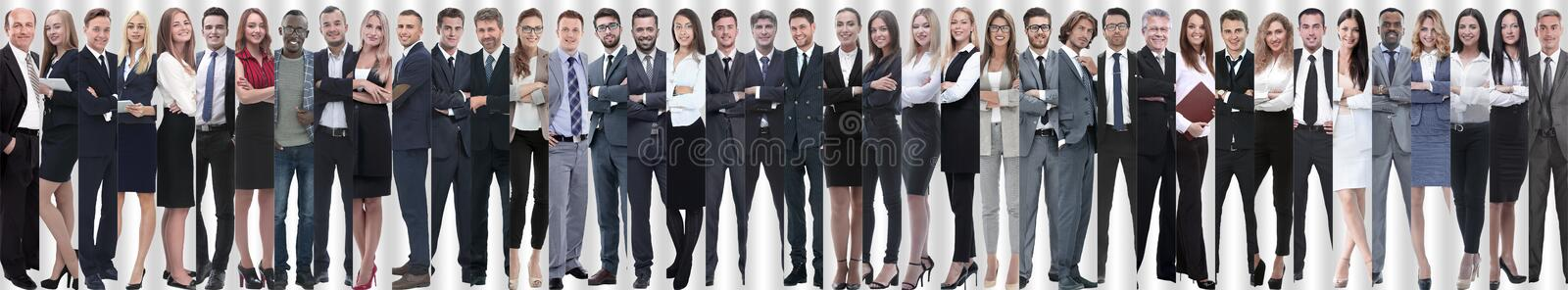 Panoramic collage of a large and successful business team. The concept of teamwork royalty free stock photo