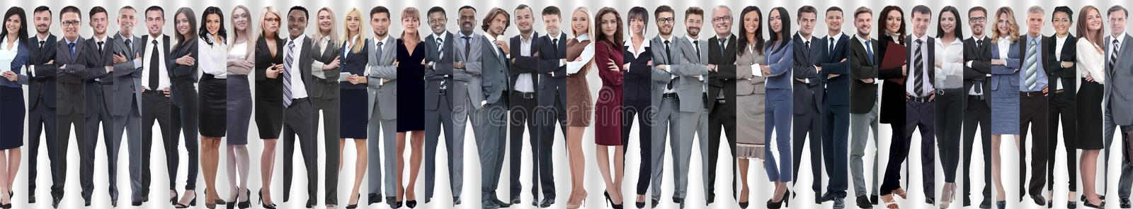 Panoramic collage of a large and successful business team royalty free stock photos