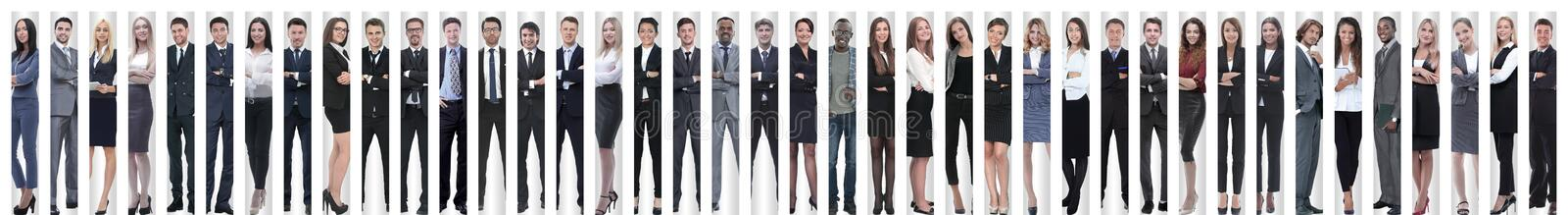 Panoramic collage of a large and successful business team. The concept of teamwork royalty free stock photography