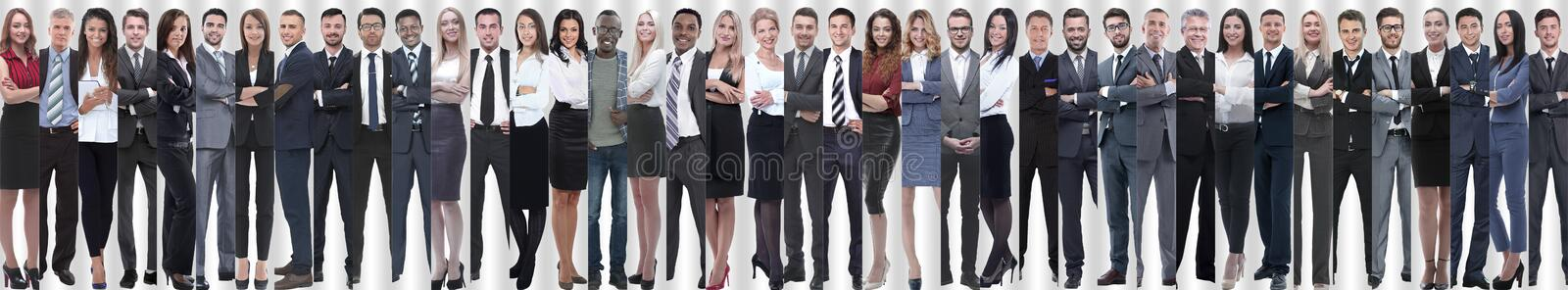Panoramic collage of a large and successful business team. The concept of teamwork stock image