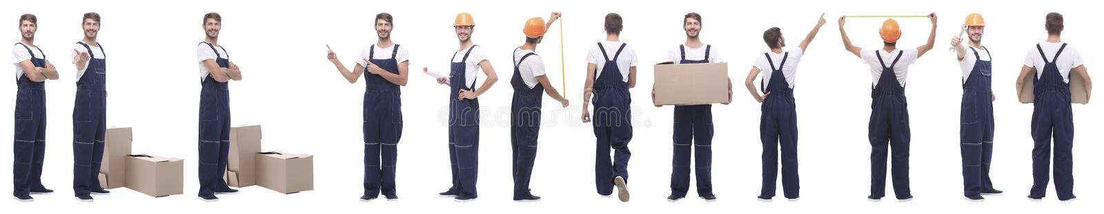 Panoramic collage of male handyman isolated on white stock image