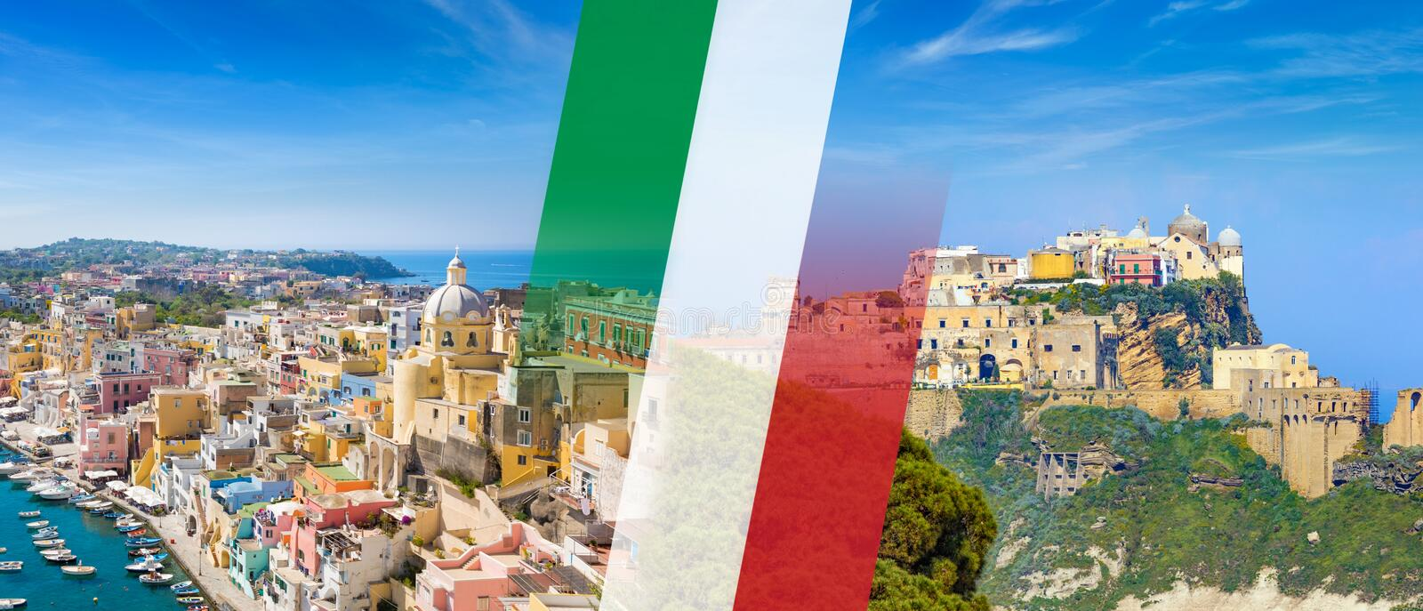 Panoramic collage with National flag of Italy and beautiful Procida Island in sunny summer day, Italy stock photo