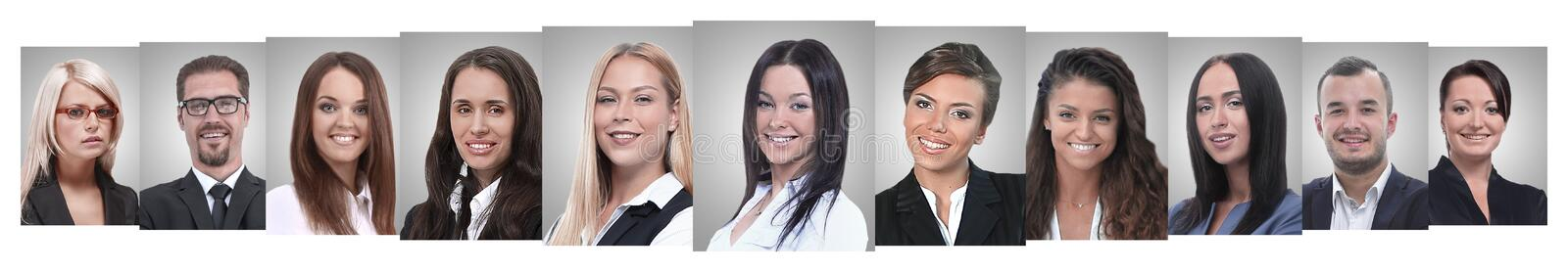 Panoramic collage of portraits of successful business people stock photos