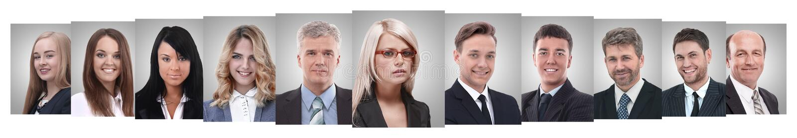 Panoramic collage of portraits of successful business people royalty free stock photography