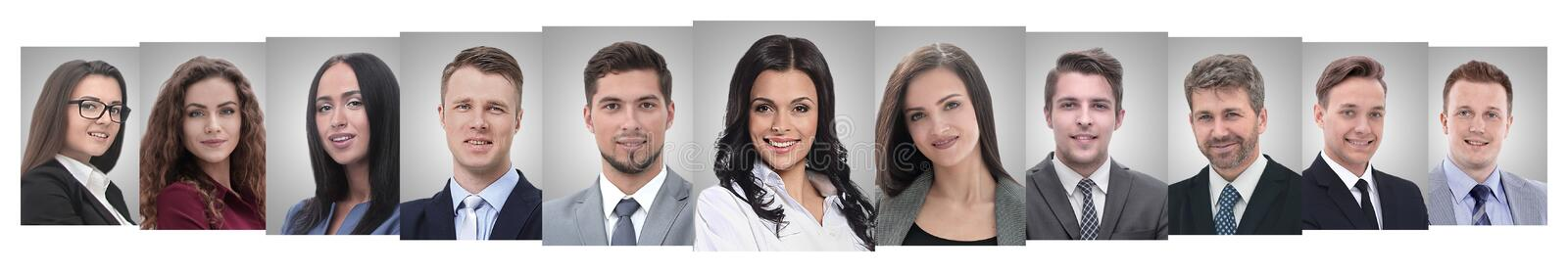 Panoramic collage of portraits of successful business people royalty free stock photos