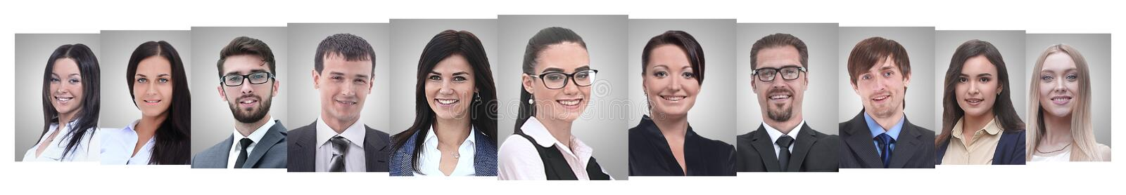 Panoramic collage of portraits of successful business people royalty free stock image