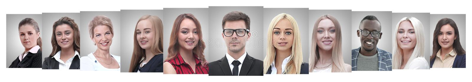 Panoramic collage of portraits of successful business people. Business concept royalty free stock image