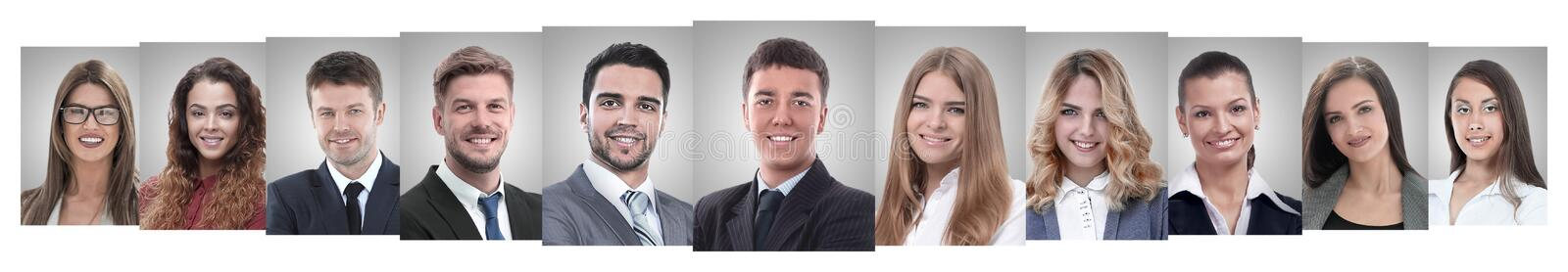 Panoramic collage of portraits of successful business people stock photo