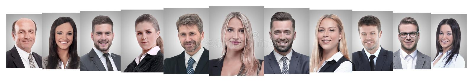 Panoramic collage of portraits of successful business people stock image
