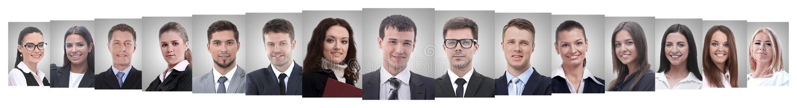 Panoramic collage of portraits of successful employees. Business concept royalty free stock photos