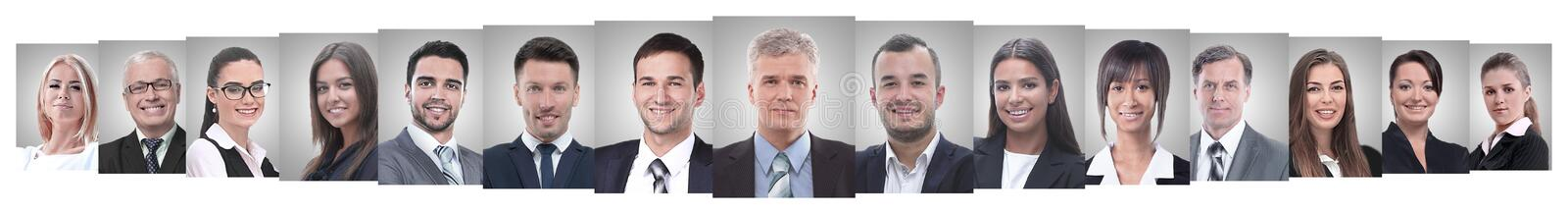 Panoramic collage of portraits of successful employees. Business concept royalty free stock images