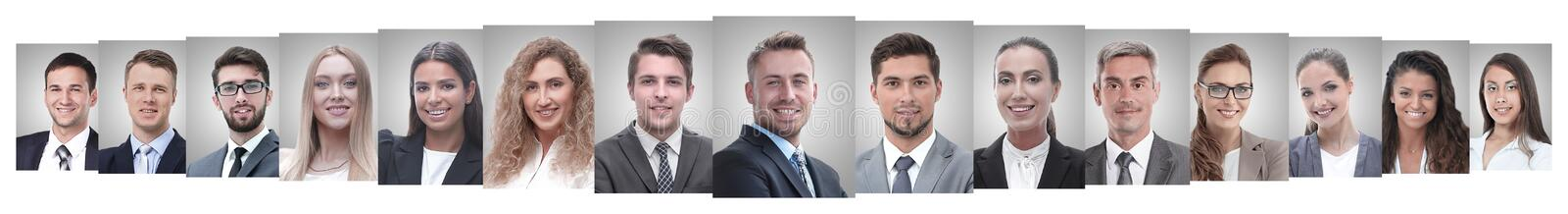 Panoramic collage of portraits of successful employees royalty free stock images