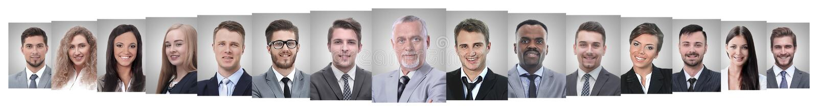 Panoramic collage of portraits of successful employees royalty free stock photography