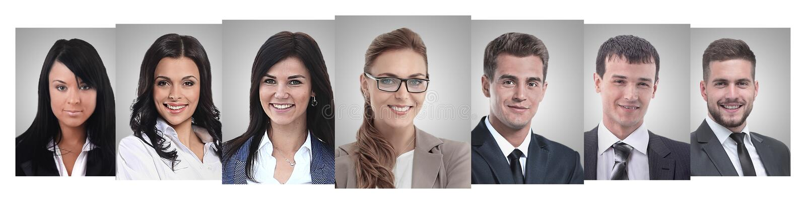 Panoramic collage of portraits of young entrepreneurs. royalty free stock photo