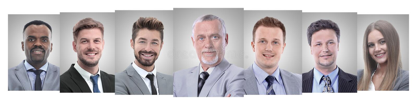 Panoramic collage of portraits of young entrepreneurs. stock photo