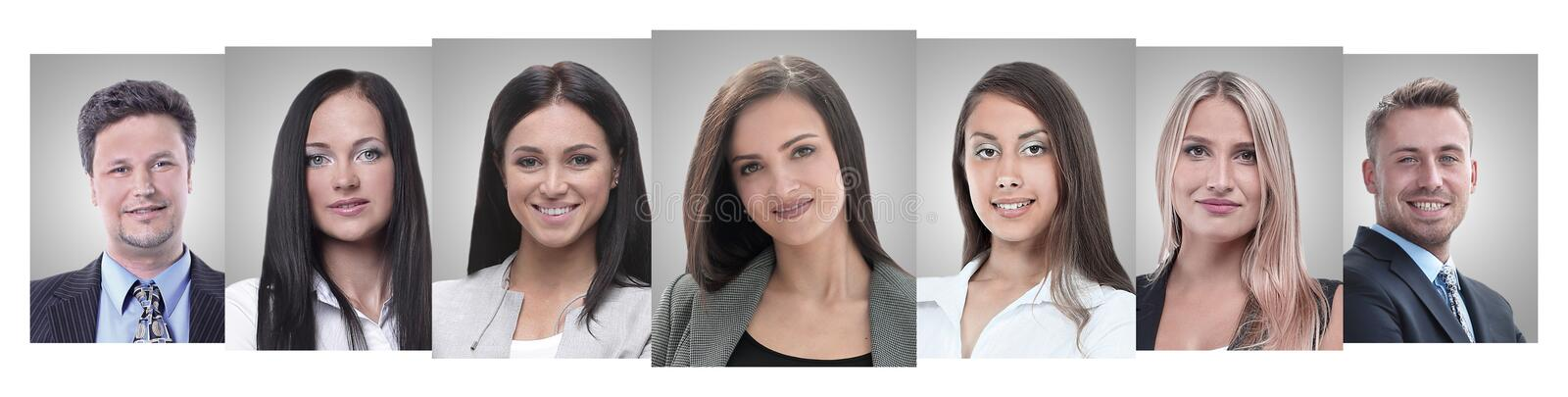 Panoramic collage of portraits of young entrepreneurs. stock photography
