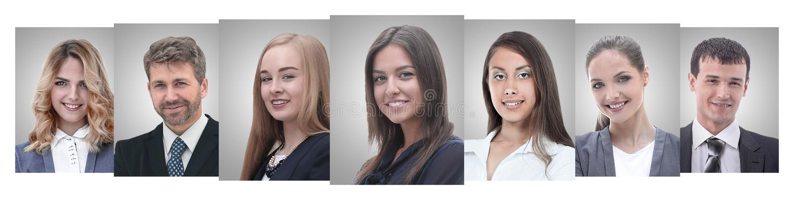 Panoramic collage of portraits of young entrepreneurs. royalty free stock photos