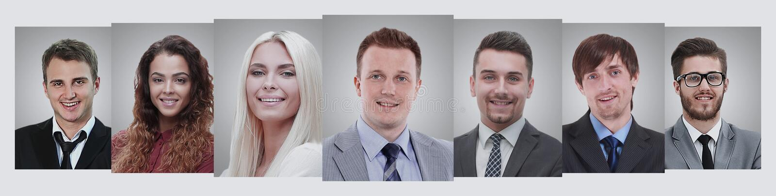 Panoramic collage of portraits of young entrepreneurs. royalty free stock image