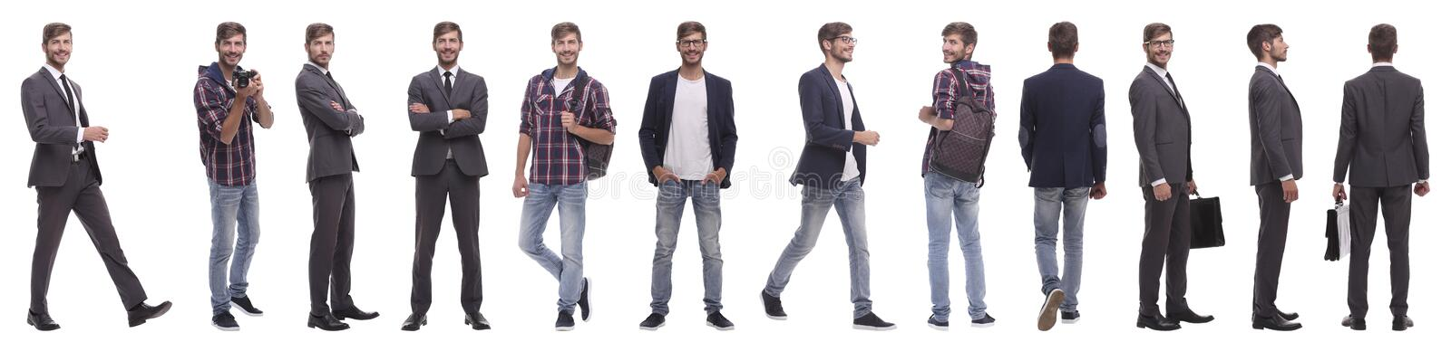 Panoramic collage of a promising young man royalty free stock photography