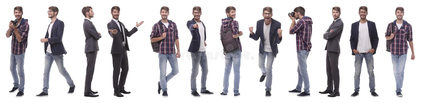 Panoramic collage of a promising young man stock photo