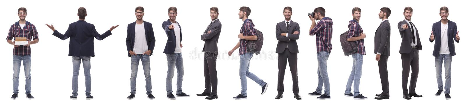 Panoramic collage of a promising young man stock photography