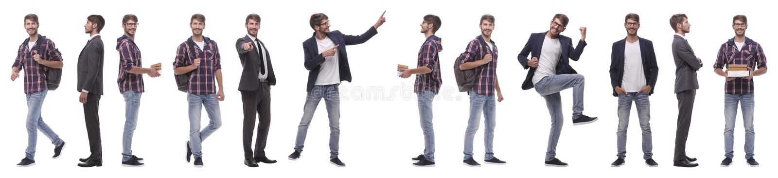 Panoramic collage of a promising young man royalty free stock image