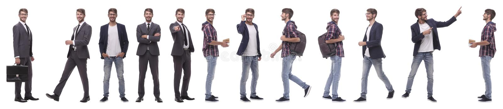 Panoramic collage of a promising young man stock image