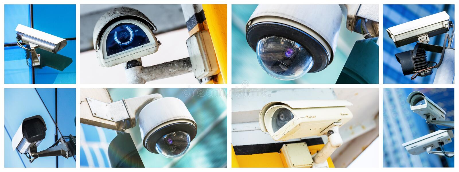 Panoramic collage of security CCTV camera or surveillance system royalty free stock photo