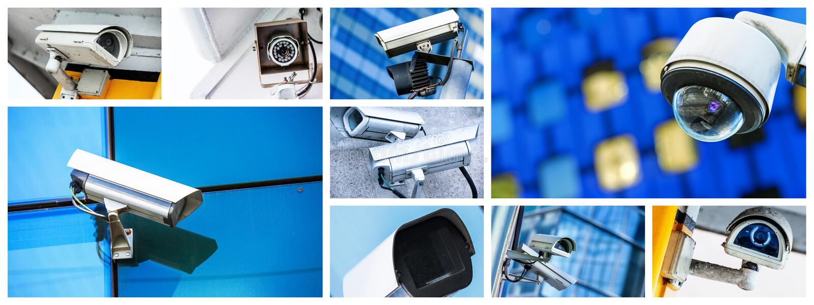 Panoramic collage of security CCTV camera or surveillance system stock photo
