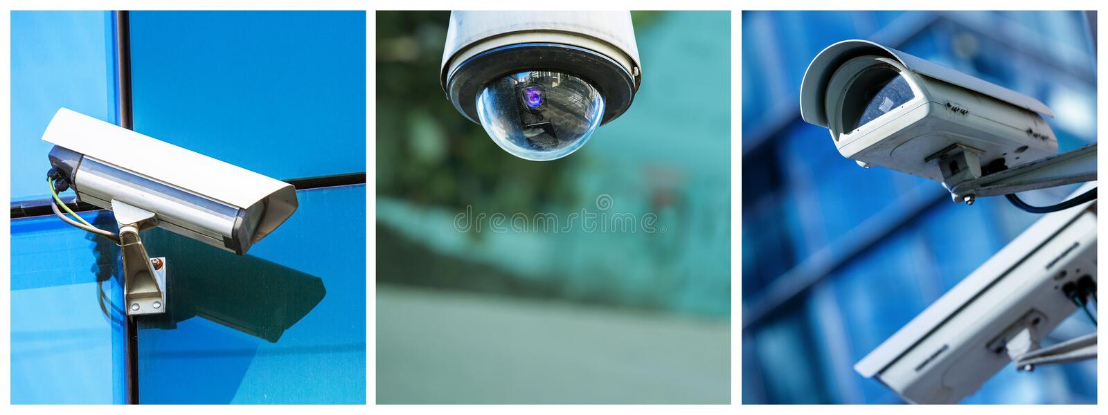 Panoramic collage of security CCTV camera or surveillance system. Panoramic collage of closeup security CCTV camera or surveillance system stock photos