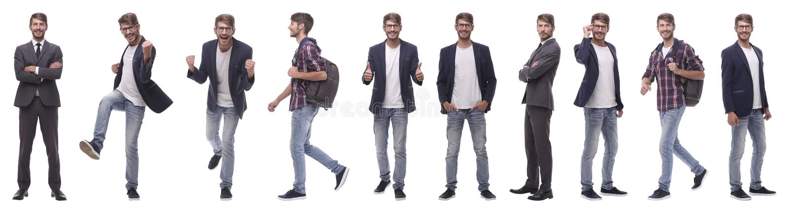 Panoramic collage of self-motivated young man .isolated on white royalty free stock images