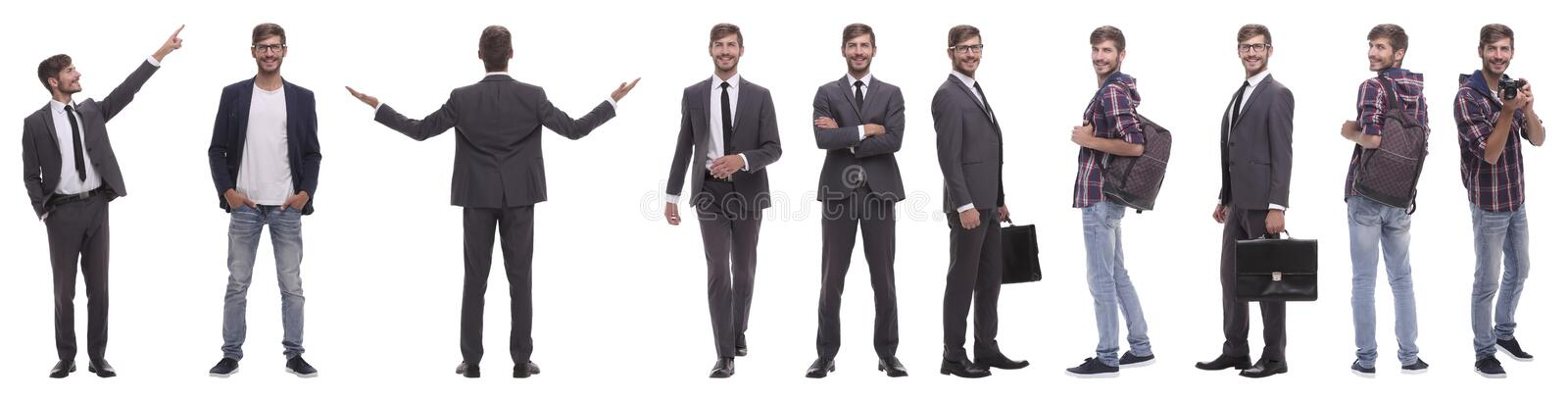 Panoramic collage of self-motivated young man .isolated on white royalty free stock photography