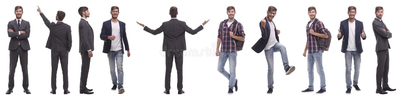 Panoramic collage of self-motivated young man .isolated on white stock images
