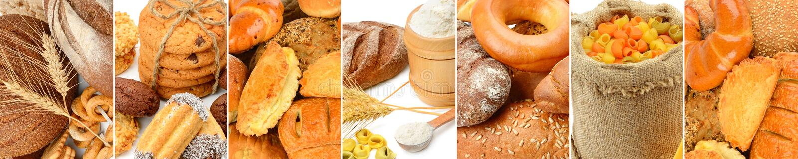 Panoramic collage set of bread products. stock photo