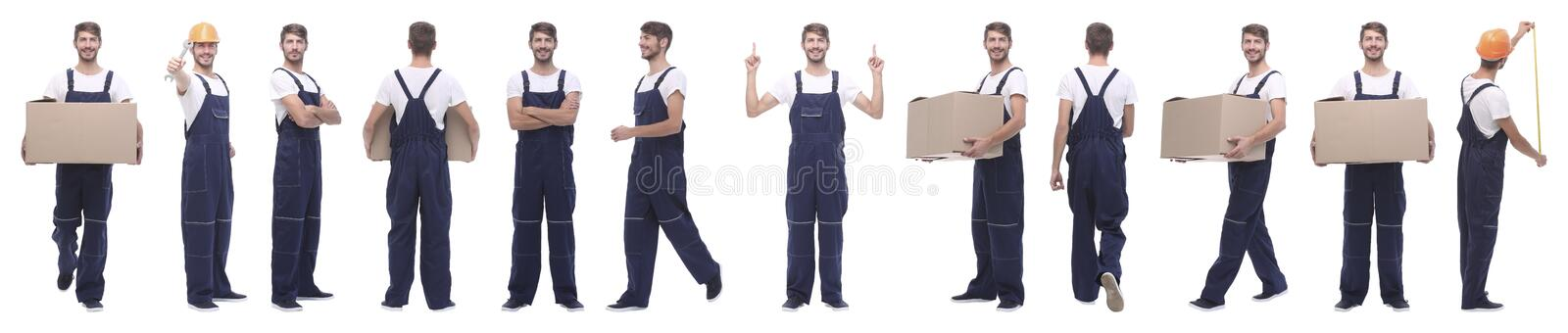 Panoramic collage of skilled handyman isolated on white royalty free stock photo