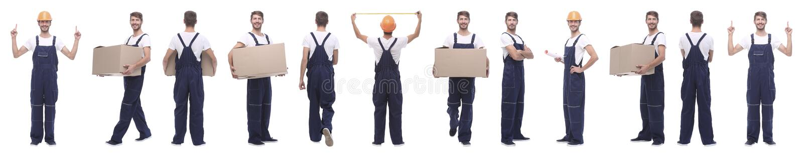 Panoramic collage of skilled handyman isolated on white stock image