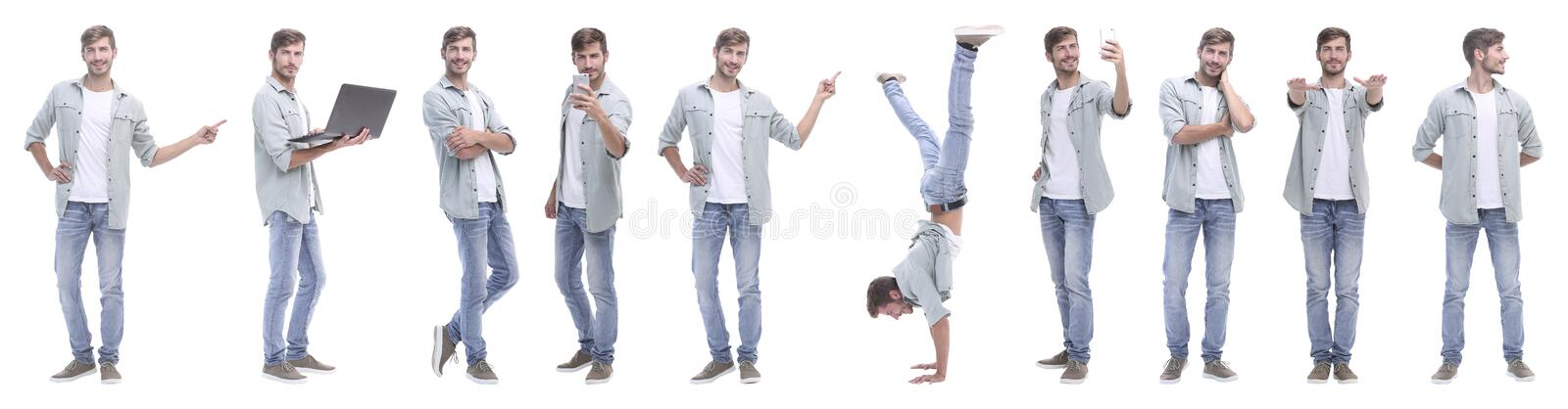 Panoramic collage of young people leading a healthy lifestyle stock photos