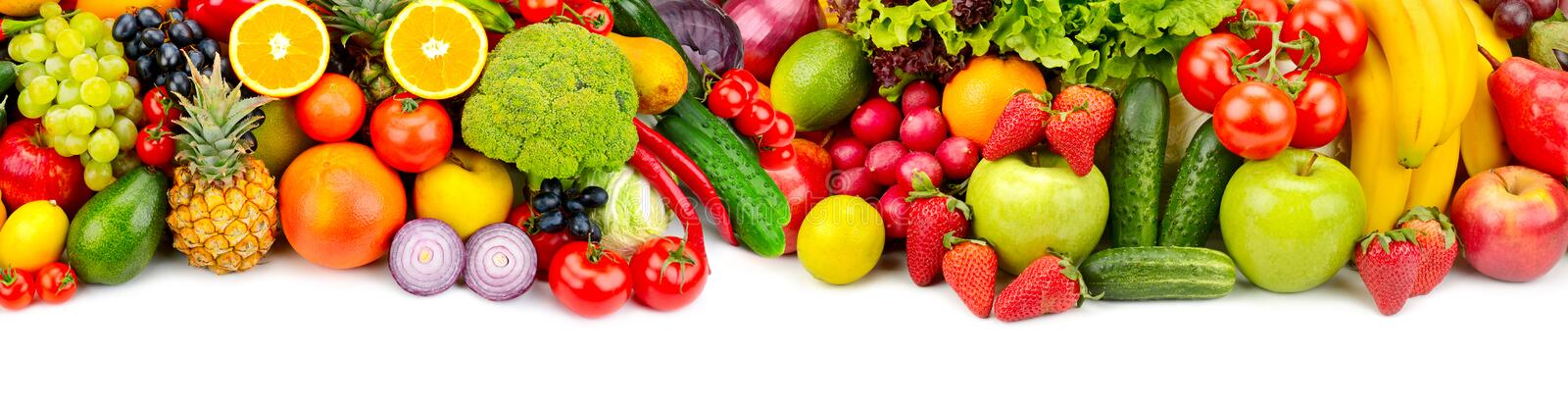 Panoramic collection fresh fruits and vegetables for skinali iso. Lated on white background. Top view. Copy space stock images