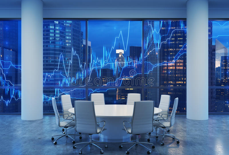 Panoramic conference room in modern office, cityscape of New York skyscrapers at night, Manhattan. vector illustration