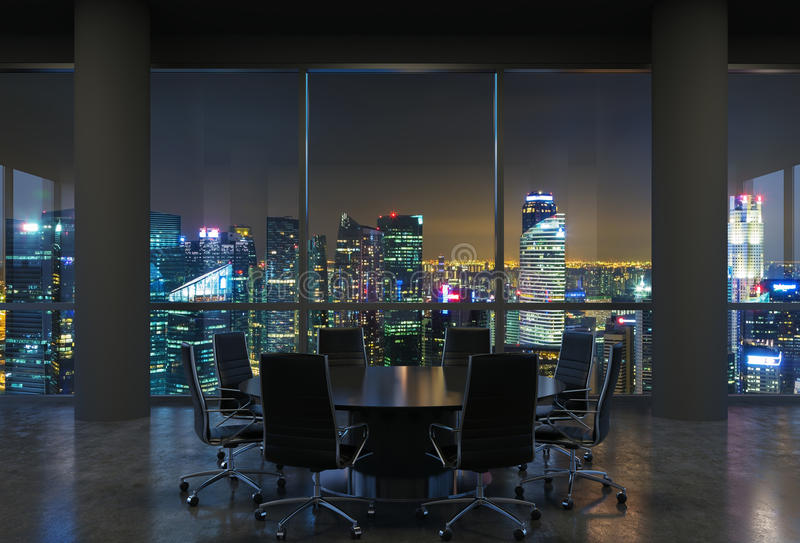 Panoramic conference room in modern office, cityscape of Singapore skyscrapers at night. Black chairs and a black round table. 3D rendering stock photography