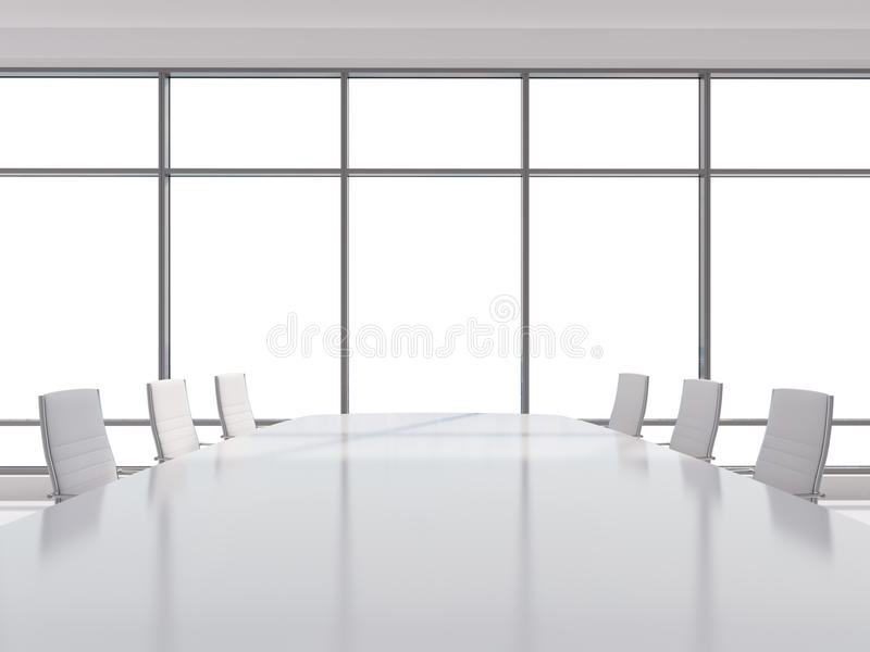 Panoramic conference room in modern office, copy space view from the windows. white leather chairs and a white table. 3D rendering vector illustration