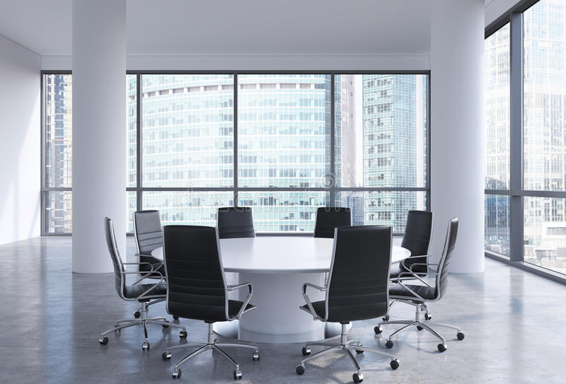 Panoramic conference room in modern office in moscow for Table moscow