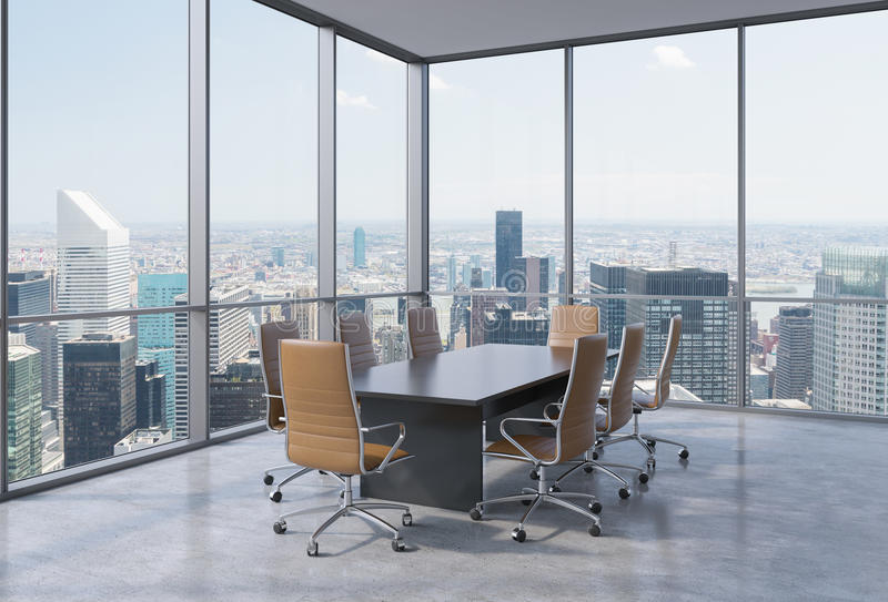 Panoramic conference room in modern office in New York City. Brown chairs and a black table. 3D rendering vector illustration