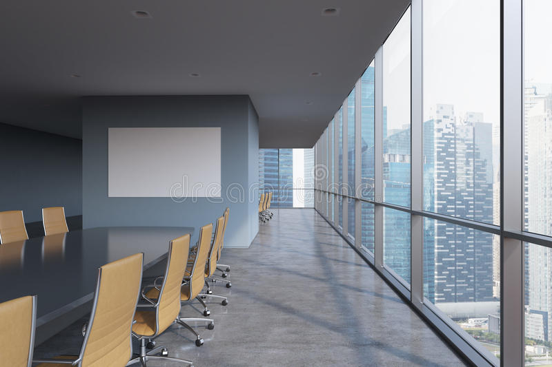 Panoramic conference room in modern office in Singapore. Brown chairs and a black table. royalty free stock photos